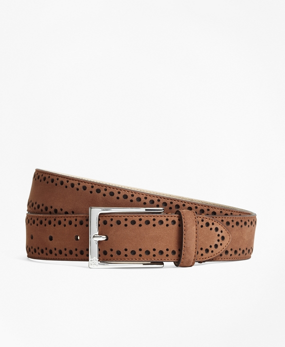 1818 Perforated Stitch Suede Belt Copper