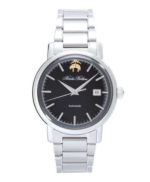 Round Watch with Stainless Steel Band Black