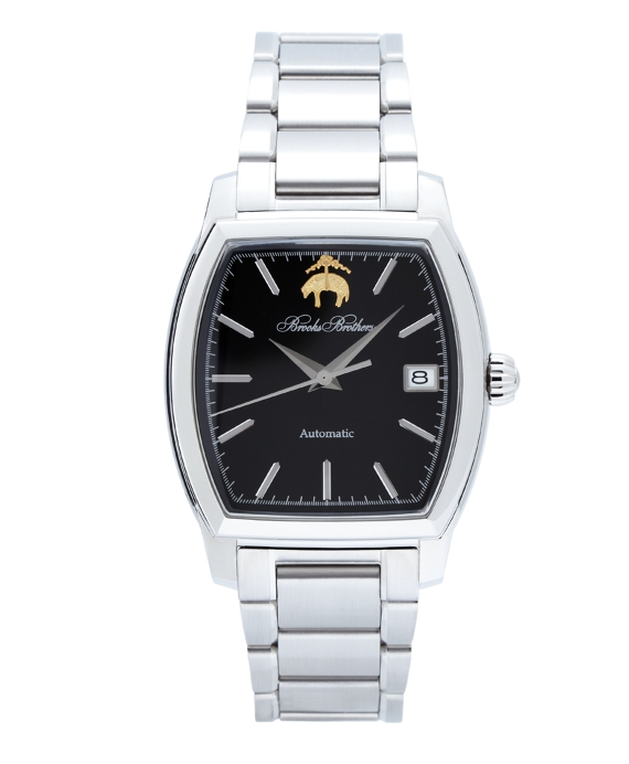 Rectangular Watch with Stainless Steel Band Black