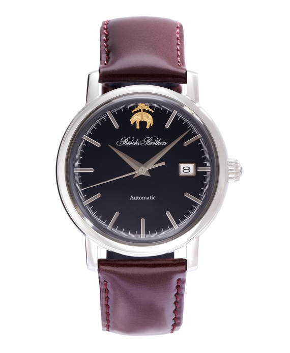 Round Watch with Calfskin Band Navy