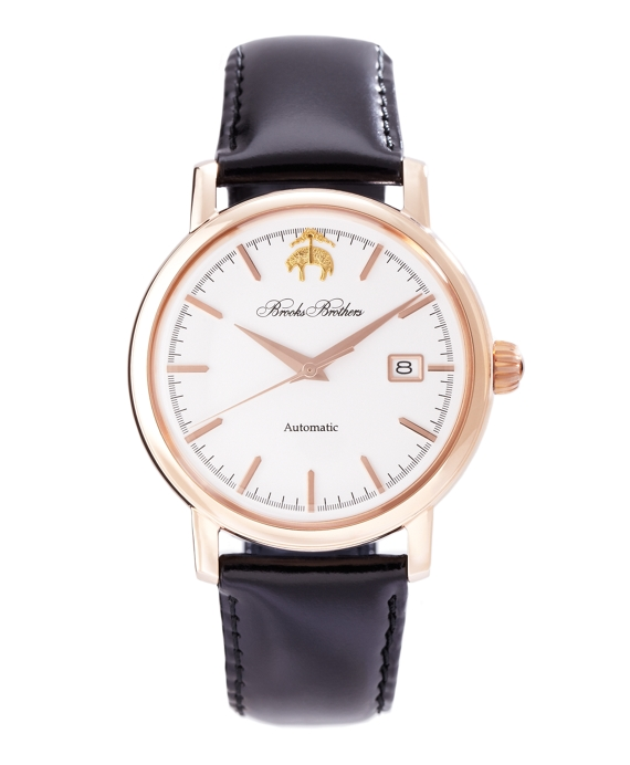 Round Watch with Calfskin Band White