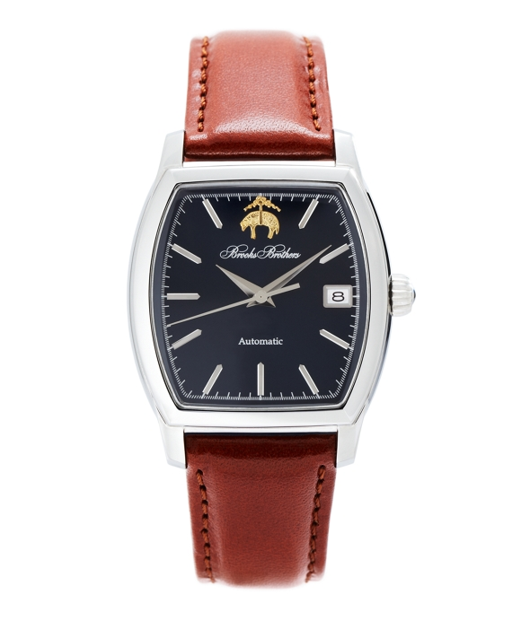 Rectangular Watch with Calfskin Band Navy