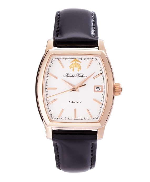 Rectangular Watch with Calfskin Band White