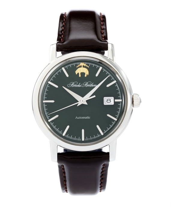 Round Watch with Calfskin Band Dark Green