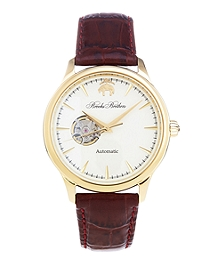 Round Watch with Embossed Leather Band