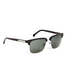 Black Clubmaster Sunglasses with Green Lens