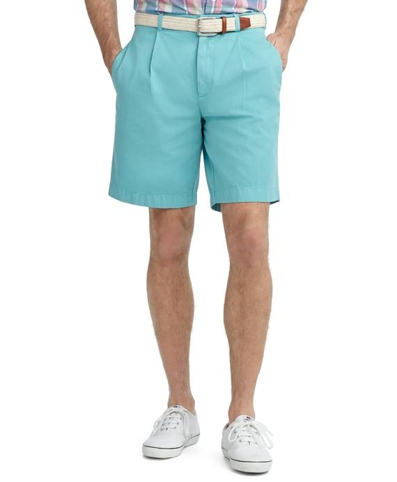 Garment-Dyed Pleat-Front Twill Shorts Aqua