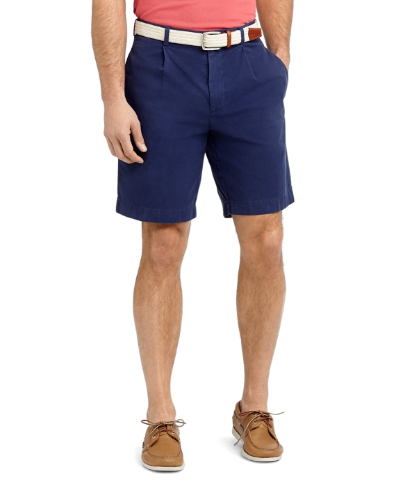 Garment-Dyed Pleat-Front Twill Shorts Dark Blue
