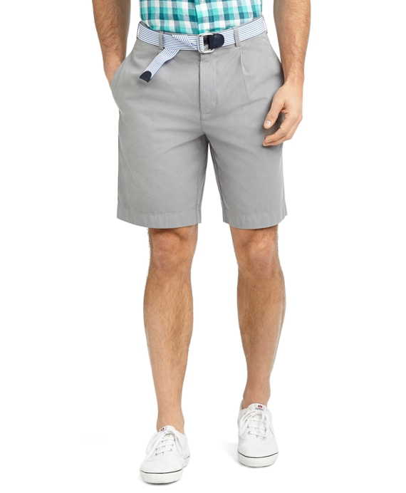 Garment-Dyed Pleat-Front Twill Shorts Grey