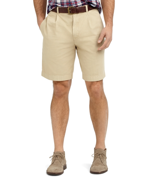 Garment-Dyed Pleat-Front Twill Shorts Khaki