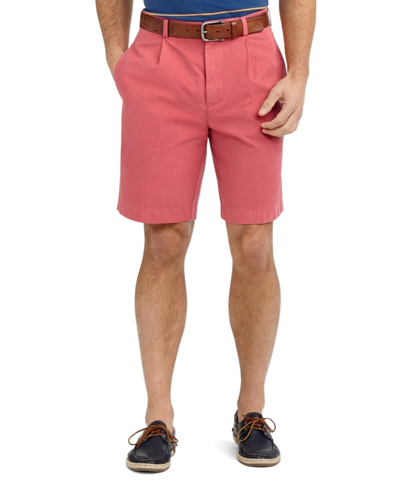 Garment-Dyed Pleat-Front Twill Shorts Red