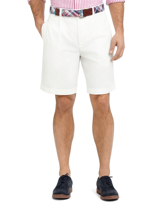 Garment-Dyed Pleat-Front Twill Shorts White