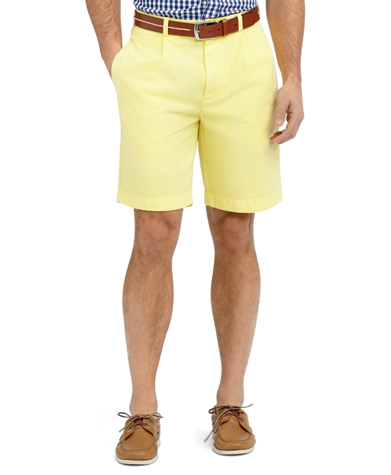 Garment-Dyed Pleat-Front Twill Shorts Yellow