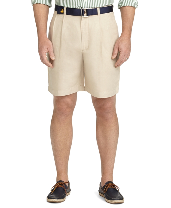 Pleat-Front Linen and Cotton Shorts Light Olive