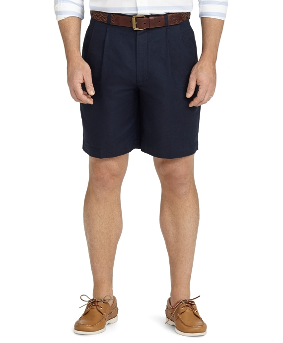 Pleat-Front Linen and Cotton Shorts Navy