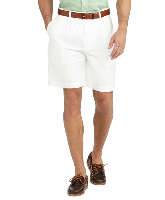Pleat-Front Linen and Cotton Shorts White