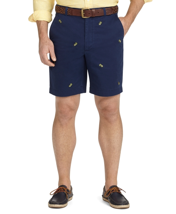 Plain-Front Pineapple Embroidered Shorts Dark Blue