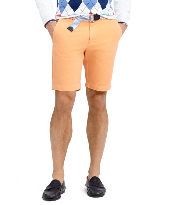 Garment-Dyed Twill Bermuda Shorts Orange