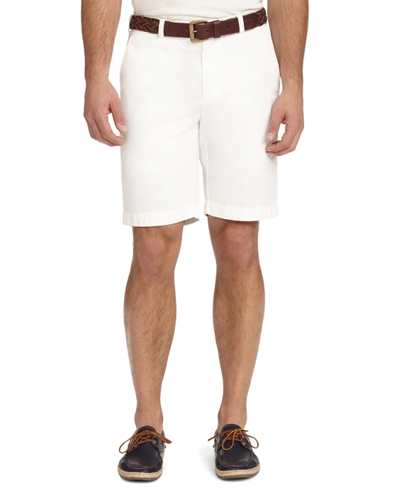 Garment-Dyed Twill Bermuda Shorts White