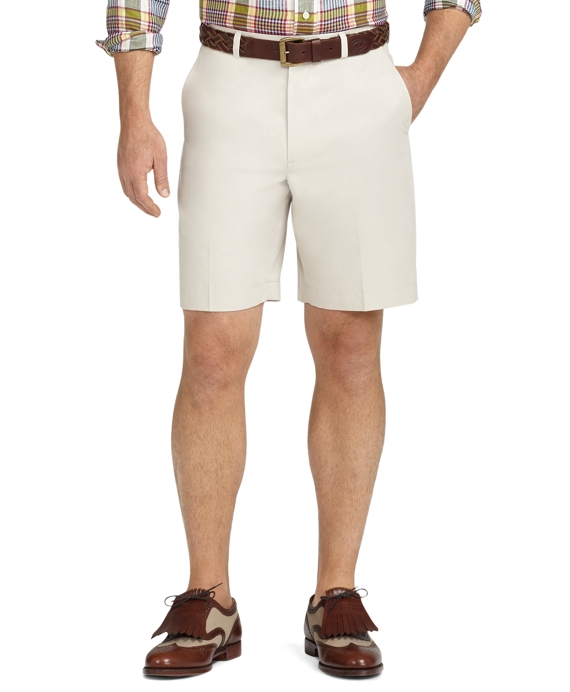 St Andrews Links Plain-Front Golf Shorts Stone