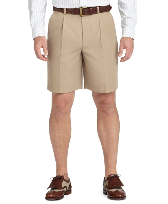 St Andrews Links Pleat-Front Golf Shorts Khaki