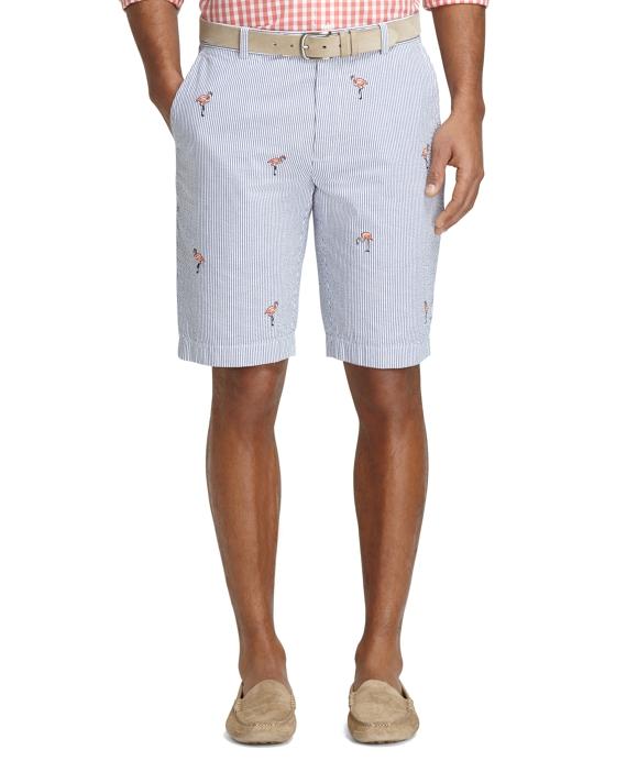 Men's 11 Inch Flamingo Embroidered Seersucker Shorts