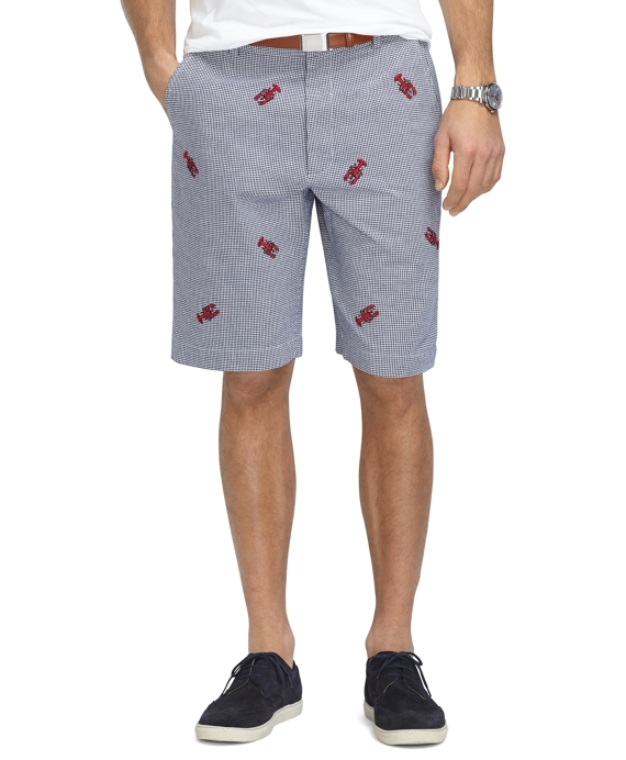 "11"" Mini Gingham with Embroidered Lobster Bermuda Shorts Navy-White"