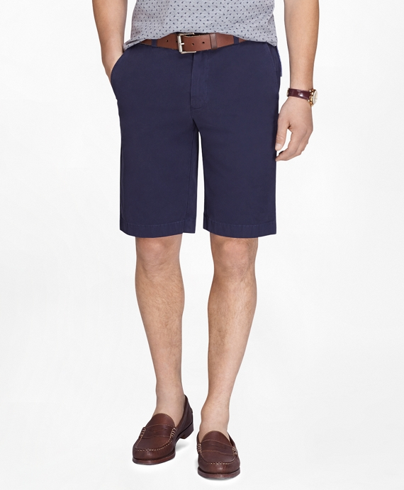 "Garment-Dyed 11"" Lightweight Cotton Bermuda Shorts Navy"