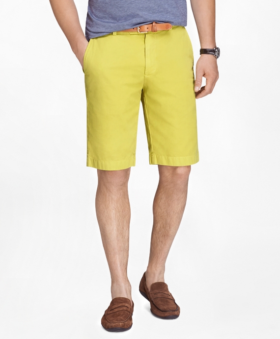 "Garment-Dyed 11"" Lightweight Cotton Bermuda Shorts Yellow"
