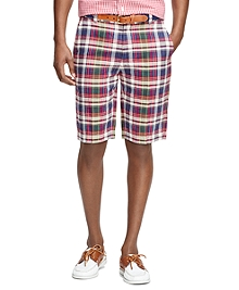 Plaid Linen Bermuda Shorts