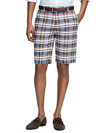Plaid Linen Bermuda Shorts