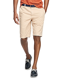 "Garment-Dyed Plain-Front 11"" Twill Bermuda Shorts"