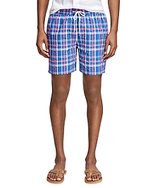 "Montauk 6"" Plaid Seersucker Swim Trunks"