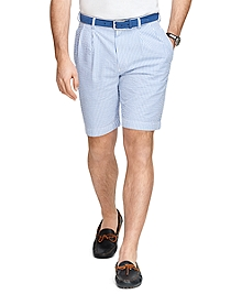 Pleat-Front Seersucker Bermuda Shorts