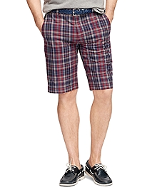 Grey Madras Bermuda Shorts