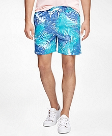 "Montauk 6"" Palm Print Swim Trunks"