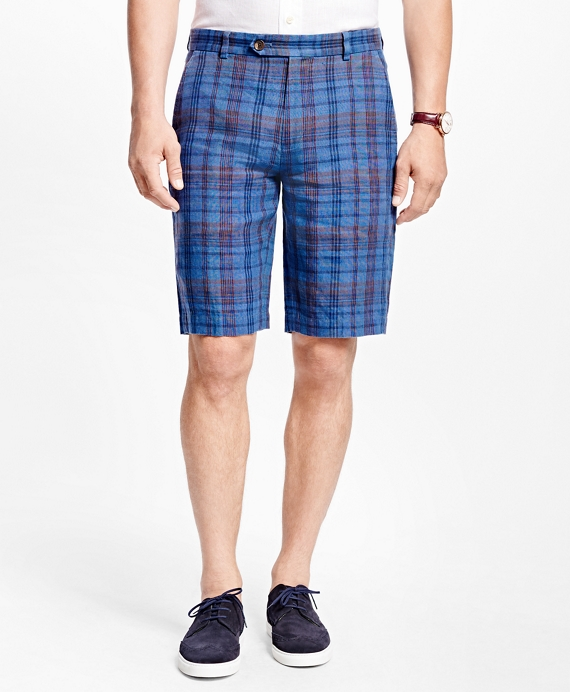 "Plaid 11"" Linen Bermuda Shorts"