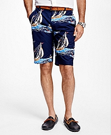 Sailboat Print Bermuda Shorts