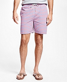 "Montauk 6"" Seersucker Check Swim Trunks"