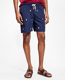 "Montauk 6"" Buoy Motif Swim Trunks"