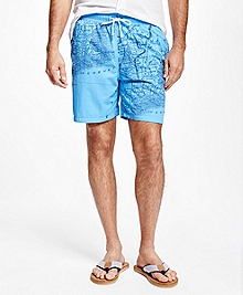 "Montauk 6"" Map Print Swim Trunks"
