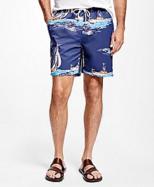 "Montauk 6"" Sailboat Print Swim Trunks"