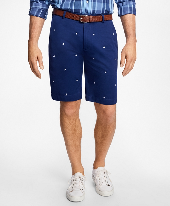 Sailboat Embroidered Bermuda Shorts Navy