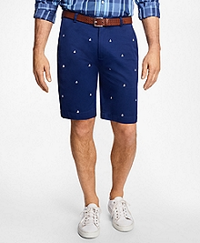 Sailboat Embroidered Bermuda Shorts