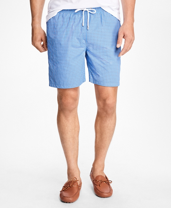 "Montauk 6"" Daisy Print Swim Trunks Blue"