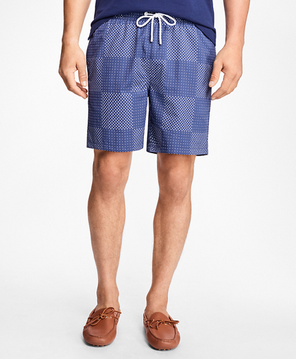 "Montauk 6"" Patchwork Print Swim Trunks"