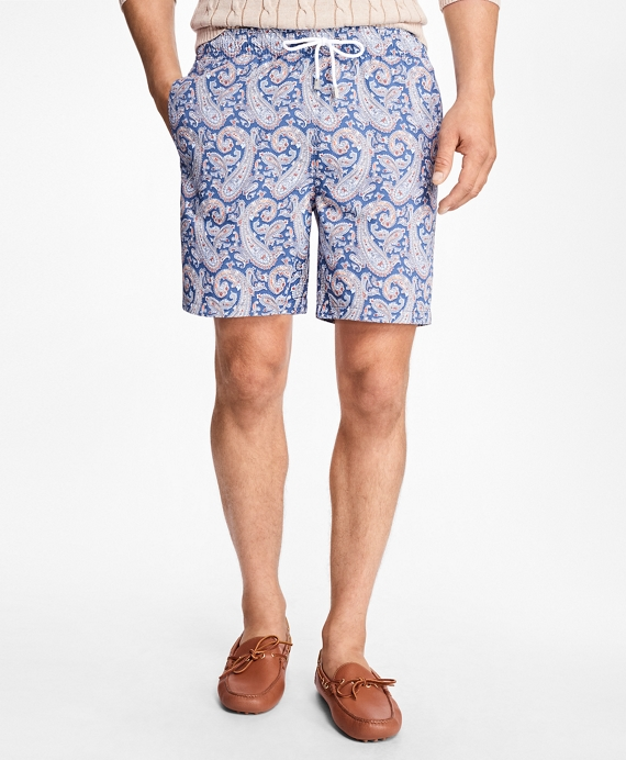 "Montauk 6"" Large Paisley Print Swim Trunks"