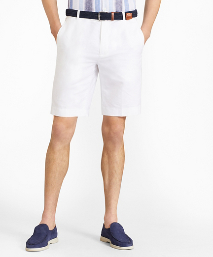 Houndstooth Cotton and Linen Bermuda Shorts
