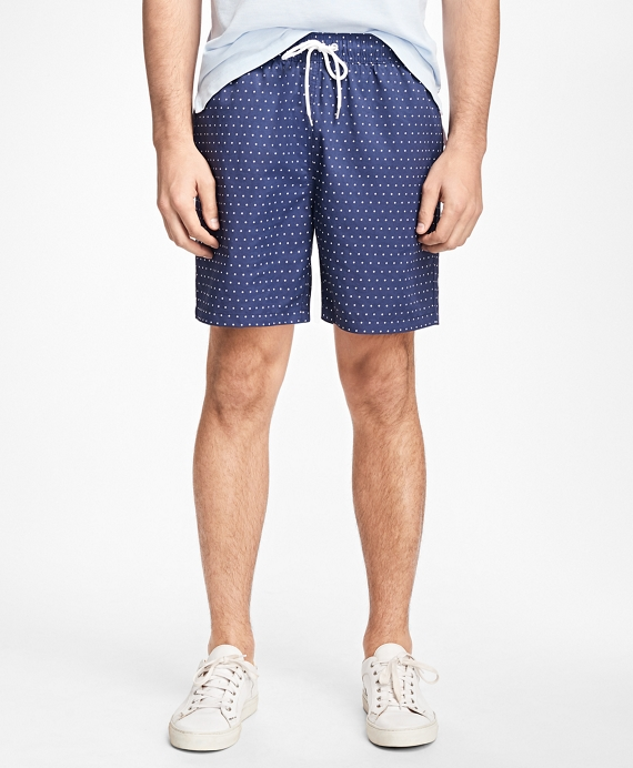 "Montauk 6"" Dot Print Swim Trunks Dark Blue"