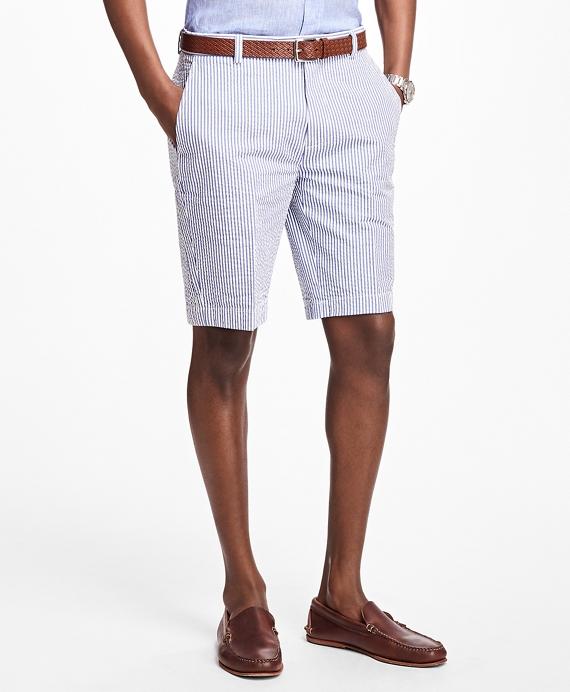 Classic Stripe Seersucker Bermuda Shorts Navy